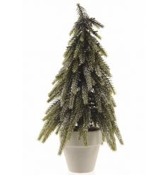 A chic mini tree set within a planter. A lovely decoration to compliment many xmas themes.