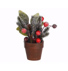 A festive red berry and pinecone mini pot. A lovely decorative accessory.