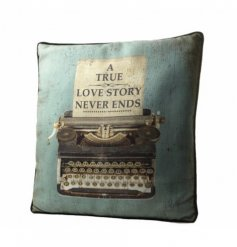 Shabby chic style cushion with vintage print