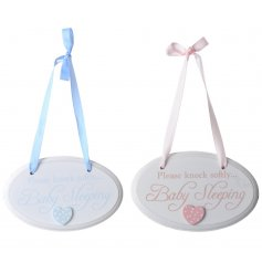 Pink and blue door hangers in an assortment of 2