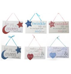 An assortment of 6 wooden hanging baby plaques