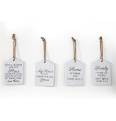 Wooden hanging small plaques with sentimental phrases