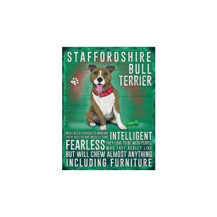 Metal Dog Sign - Brindle Staffy