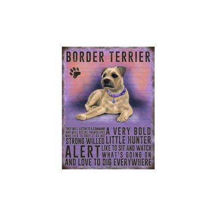 Metal Dog Sign - Boarder Terrier