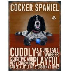 Hanging metal sign with colourful Cocker Spaniel image and script