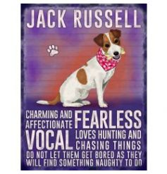Hanging metal sign with jute string and colourful Jack Russell image