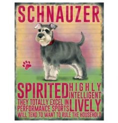 Hanging metal sign with colourful Schnauzer image and script