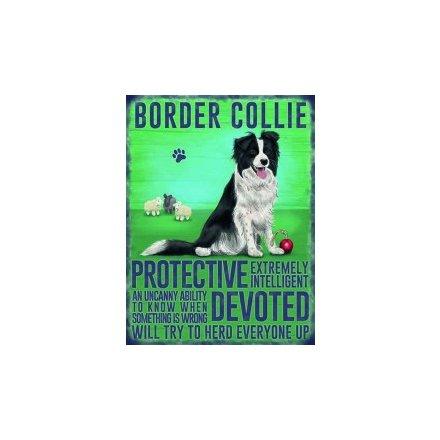 Metal Dog Sign - Boarder Collie