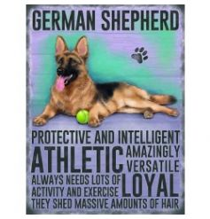 Hanging metal sign with jute string and colourful German Shephard image