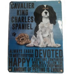 Hanging metal sign with jute string and colourful Cavalier King Charles image