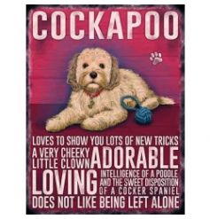 Hanging metal sign with jute string and colourful Cockapoo image