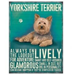 Hanging metal sign with colourful Yorkie image and script