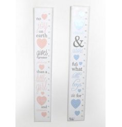Pink and blue height charts in an assortment of two designs