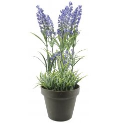 Chic artificial lavender plant in a stylish pot for ornamental use