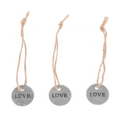 Zinc style tags on a rustic string with Love text. Ideal for decor, craft, wrap, weddings, occasions and more!