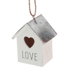 Hanging wooden house decoration with Love script and heart