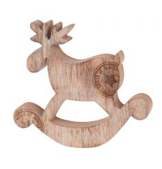 Wooden deer decoration in a festive style with stamp
