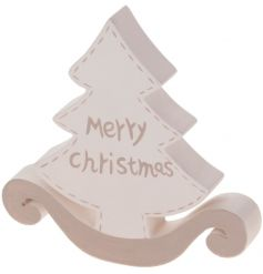 Wooden tree decoration with Merry Christmas script