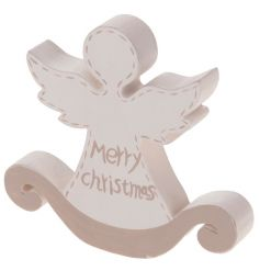 Wooden Christmas angel decoration with Merry Christmas text