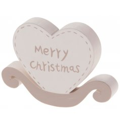 A White Wooden Heart Standing Decoration with merry christmas script