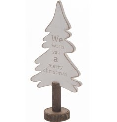 A White Wooden Tree Decoration with merry christmas quote