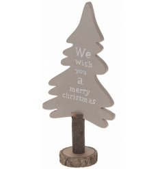 Wooden tree decoration with Christmas script