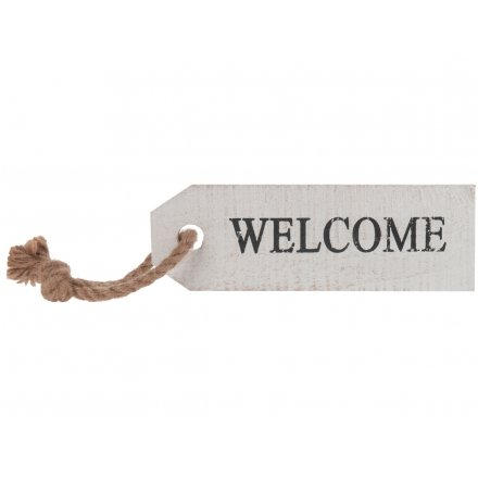 Large White Wooden Welcome Sign With Rope, 24cm