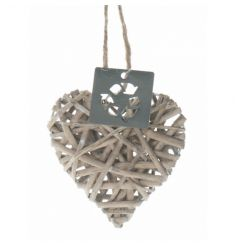 Shabby and chic willow style hanging heart with jute string