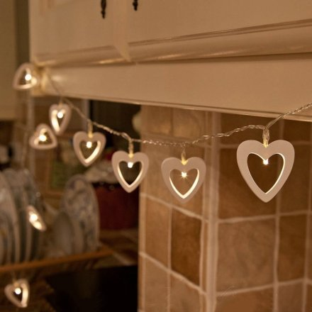 Shabby and chic hanging heart LED lights, battery powered