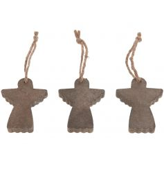 Hanging wooden angel decorations with rustic string