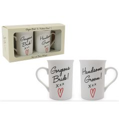 Set of 2 mugs in a matching gift box with Bride and Groom text