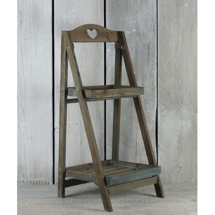 Rustic style plant stand with a sweet heart cut out