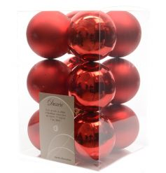 A pack of 12 red shatterproof baubles in matt and shiny designs.