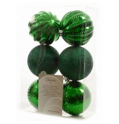 A set of 6 shatterproof baubles in shiny, glitter and textured designs.