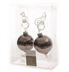 A set of 2 chic glass baubles with a ribbed finish and glamorous acrylic beading.