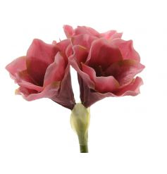 A fine quality silk amaryllis stem in pretty pink colours.