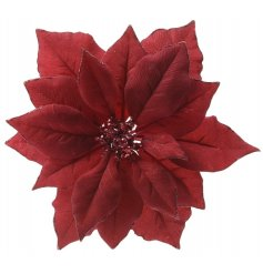 A stunning deep red and glamorous poinsettia clip with glitter and embellished detailing.