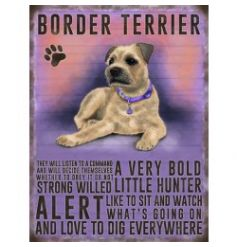 Mini metal dangler sign with Border Terrier image and description