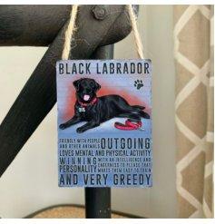 Mini metal dangler sign with Black Labrador image and description