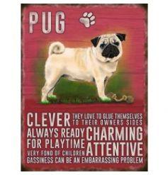 Mini metal dangler sign with Pug image and description