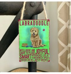 Mini metal dangler sign with Labradoodle image and description