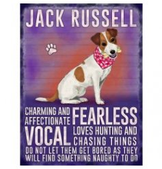 Mini metal dangler sign with Jack Russell image and description