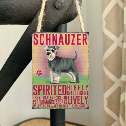 Mini metal dangler sign with Schnauzer image and description