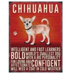 Mini metal dangler sign with Chihuahua image and description