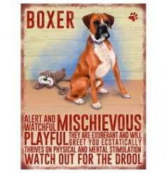 Mini metal dangler sign with Boxer image and description