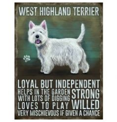 Mini metal dangler sign with Westie image and description
