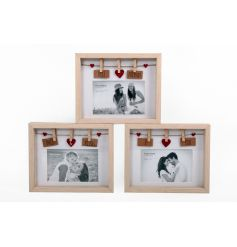Wooden picture frames with peg detail in an assortment of 3