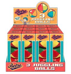 A blast from the past, retro style juggling balls in a vintage gift box
