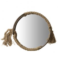 A stylish round mirror with rustic chunky rope detailing and a chunky metal frame.