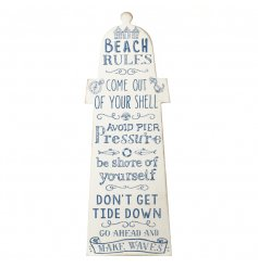 A motivational coastal sign in the shape of a light house. A charming accessory for the home.